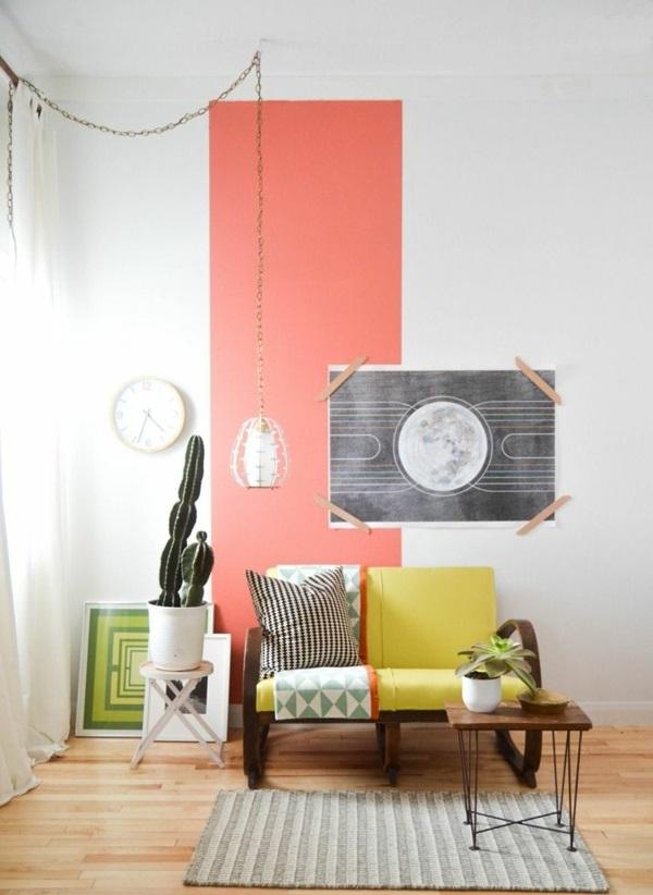 raumgestaltung ideen wandgestaltung mit farben pastellfarben weiß rosa streifen