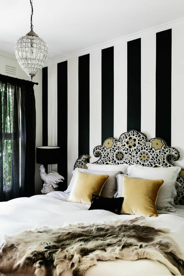 raumgestaltung ideen wandgestaltung mit farben vertikale streifen schwarz weiß