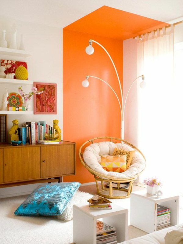 raumgestaltung ideen wohnzimmermöbel wandfarbe orange farbakzent