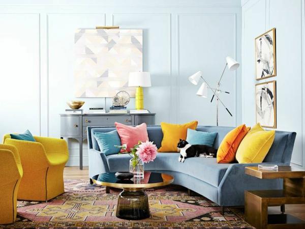 retro couchtisch rund blaues sofa wohnzimmer