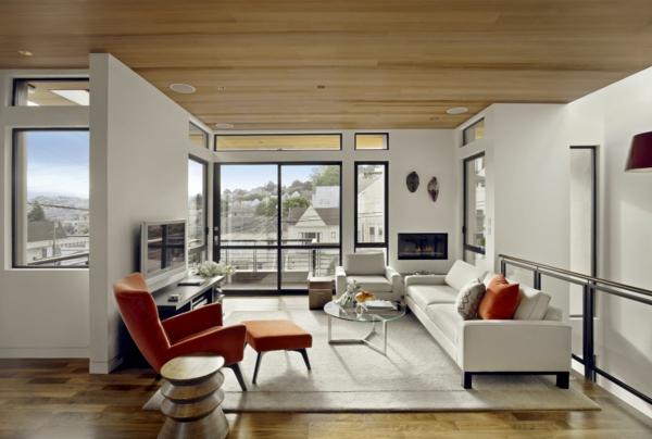 retro wohnzimmer weißer teppich kamin