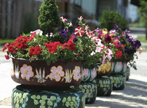 schöne pflanzenbehälter alte autoräder farbig streichen