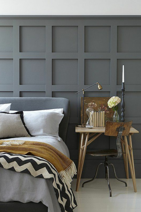 schlafzimmer design schöne wandgestaltung arbeitsschreibtisch
