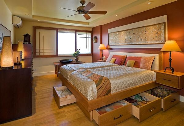 schlafzimmer einrichten asia doppelbett viel stauraum