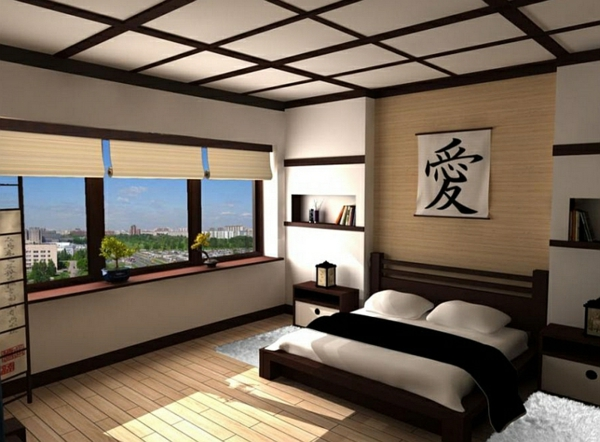 Schlafzimmer Einrichten Asia Niedriges Bett Fensterrollen