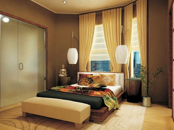 schlafzimmer einrichten asia ovale hängelampen