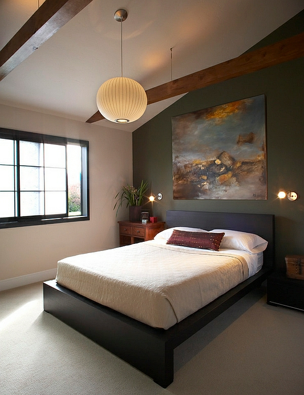 schlafzimmer einrichten asia papierhängelampe offene deckenbalken