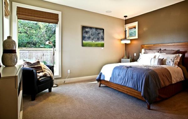 schlafzimmer einrichten asia teppichboden beige edles holz