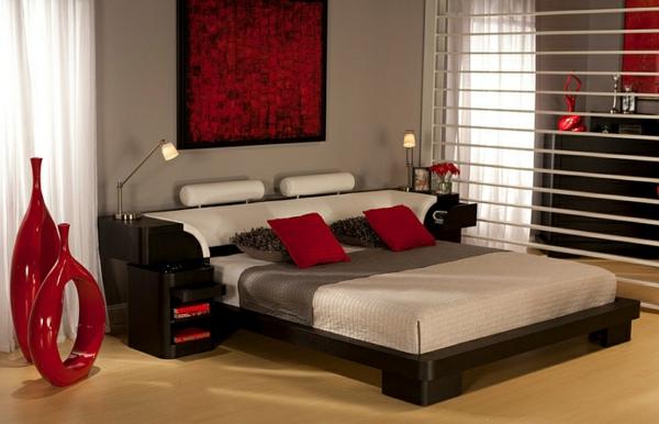 schlafzimmer einrichten asiatisch dunkelrote akzente vasen