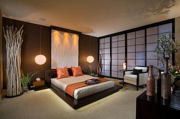 schlafzimmer asiatisch paravent papier hängeleuchten