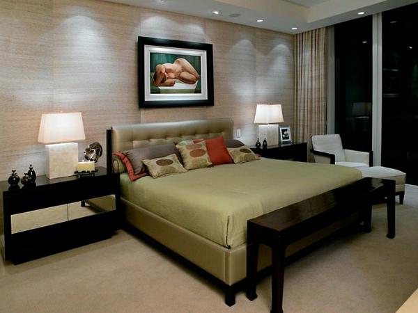 schlafzimmer einrichten asiatisch schwarze möbel