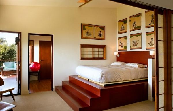 schlafzimmer einrichten asiatische miniaturen treppe bett