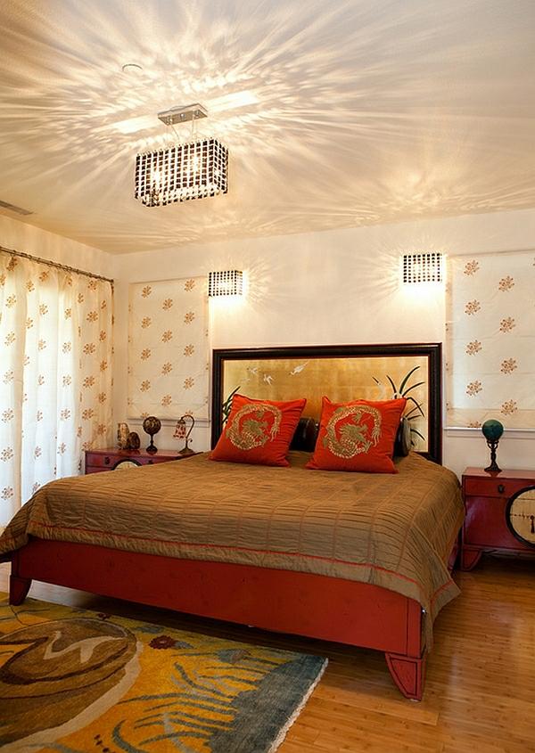 schlafzimmer einrichten asiatisches design rote möbel