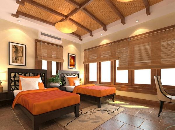 schlafzimmer einrichten asiatisches flair orange bettdecken