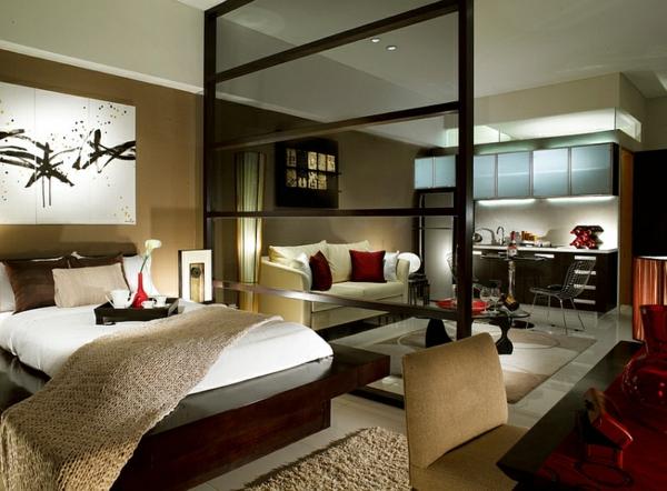 schlafzimmer einrichten trennwand hochflorteppich