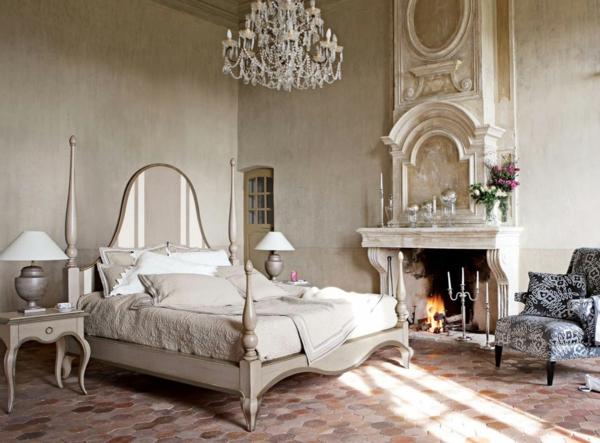 schlafzimmer gestalten kamin sessel bettkopfteil
