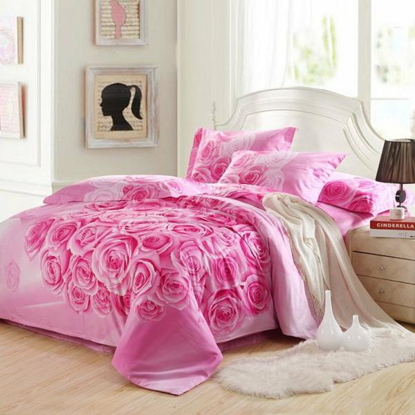 schlafzimmer gestalten rosa bettwäsche teppich