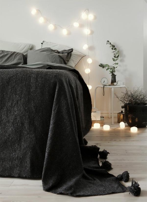 schlafzimmer gestalten schwarze decke licht