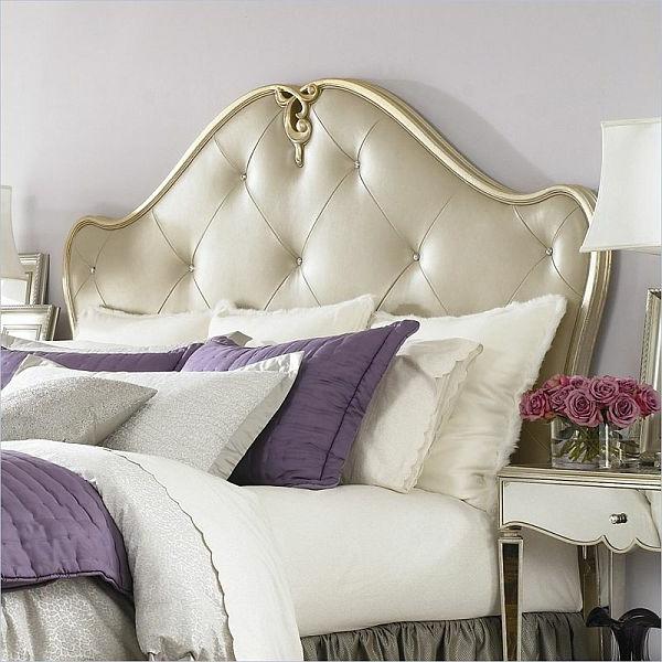 schlafzimmer lila weiß bett bettkopfteil