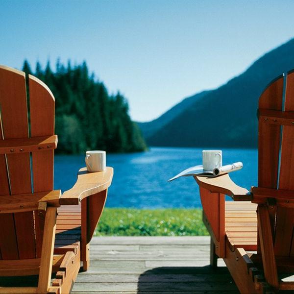 sich entspannen see gebirge kaffee trinken morgen