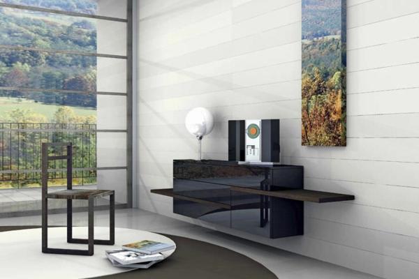 Sideboard hängend schwarz  Sideboard hängend an der Wand für eine schicke Zimmerausstattung