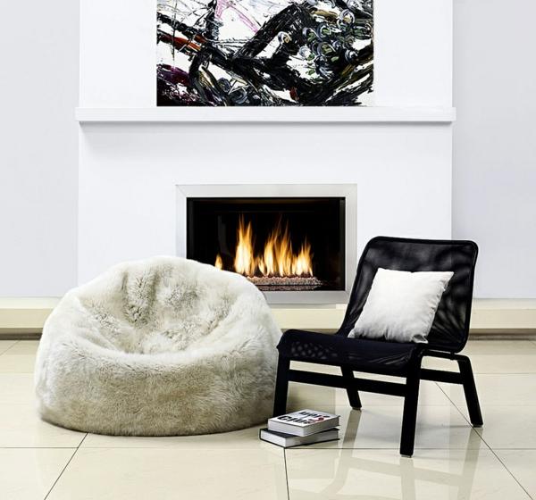 sitzsäcke sessel komfort kamin lederstuhl