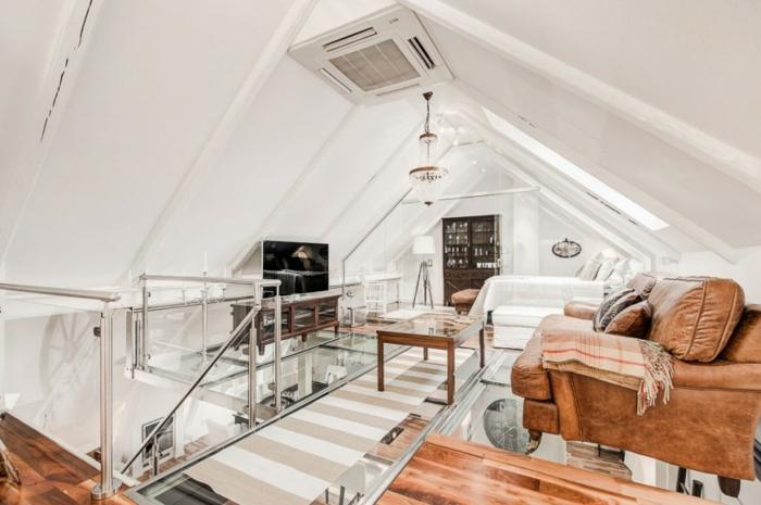 skandinavisch wohnen penthousewohnung obergeschoss einrichten ledermöbel