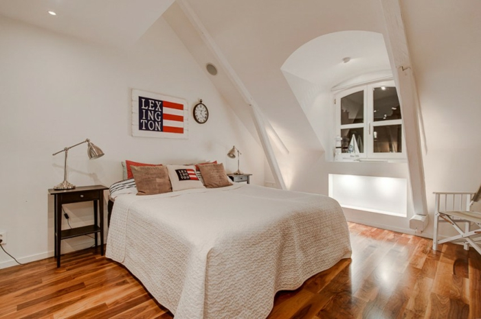 skandinavisch wohnen penthousewohnung schlafzimmer bett