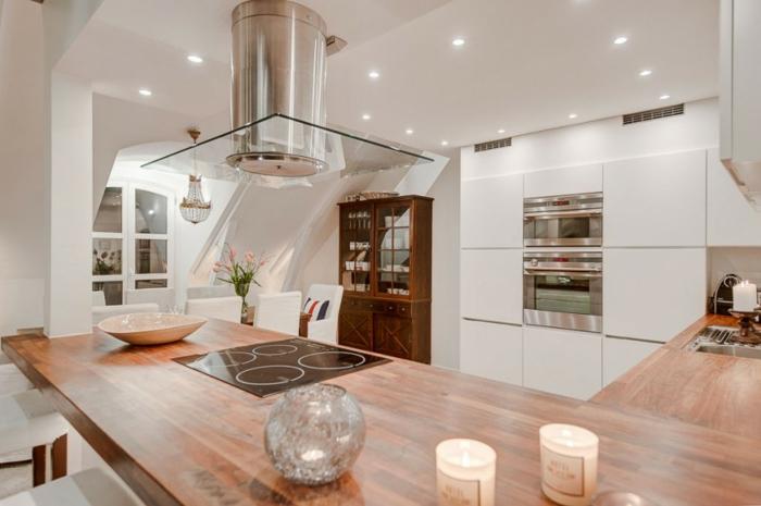 skandinavisch wohnen penthousewohnung stockholm kücheninsel kochplatten kochfeld