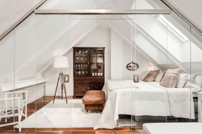 skandinavisch wohnen penthousewohnung stockholm schlafzimmer ideen raumtrenner glas