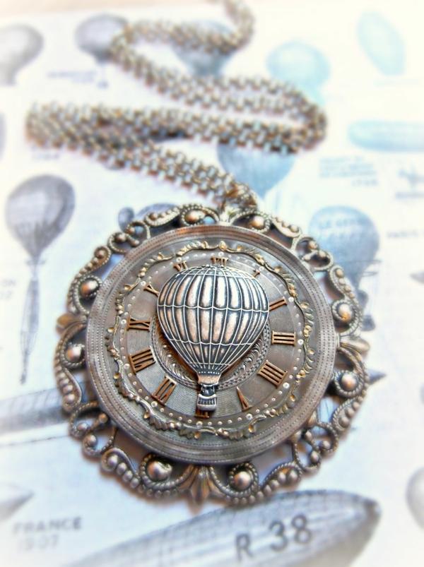 steampunk schmuck bronze kette heißluftballon