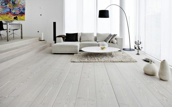 stehlampe design schwarz elegant helles wohnzimmer