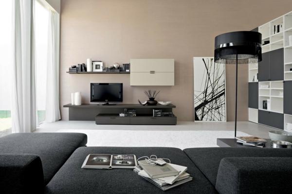 stehlampe wohnzimmer schwarzer lampenschirm graues sofa