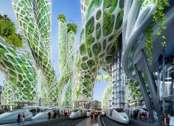 treibhausgase paris futuristischer bahnhof