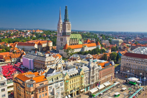 urlaubsziele europa zagreb stadtpanorama markt kathedrale