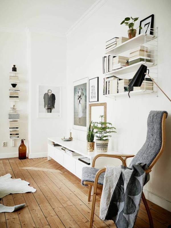 vintage möbel retro stuhl pflanzen fellteppich