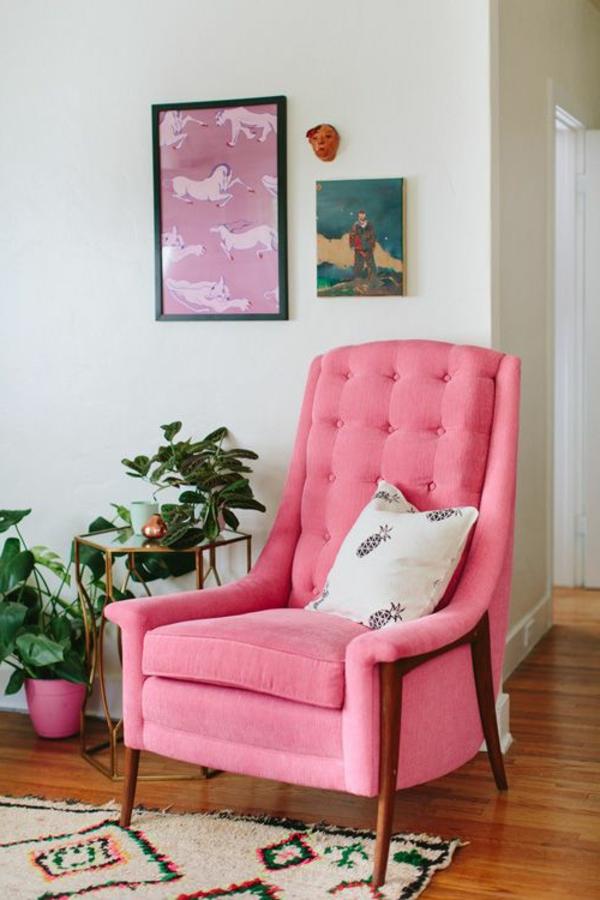 vintage möbel rosa sessel pflanzen