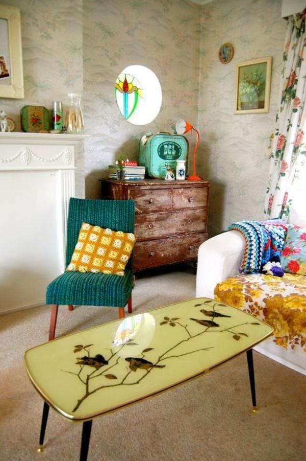 vintage möbel wohnzimmer einrichtungsideen tapeten