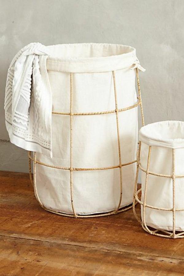wäschekorb bambus gestell stoff waschküche einrichten