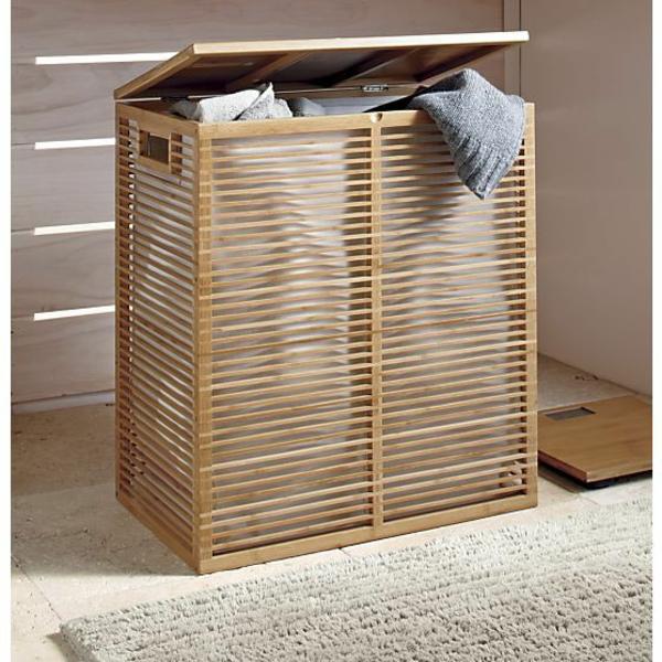 wäschekorb bambus gestell und stoff einrichtungstipps