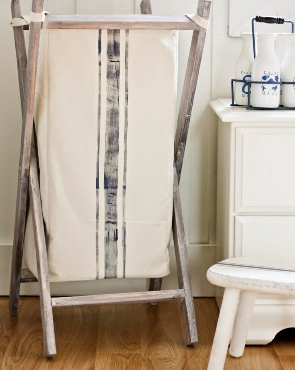 wäschekorb holz gestell stoff waschküche einrichten