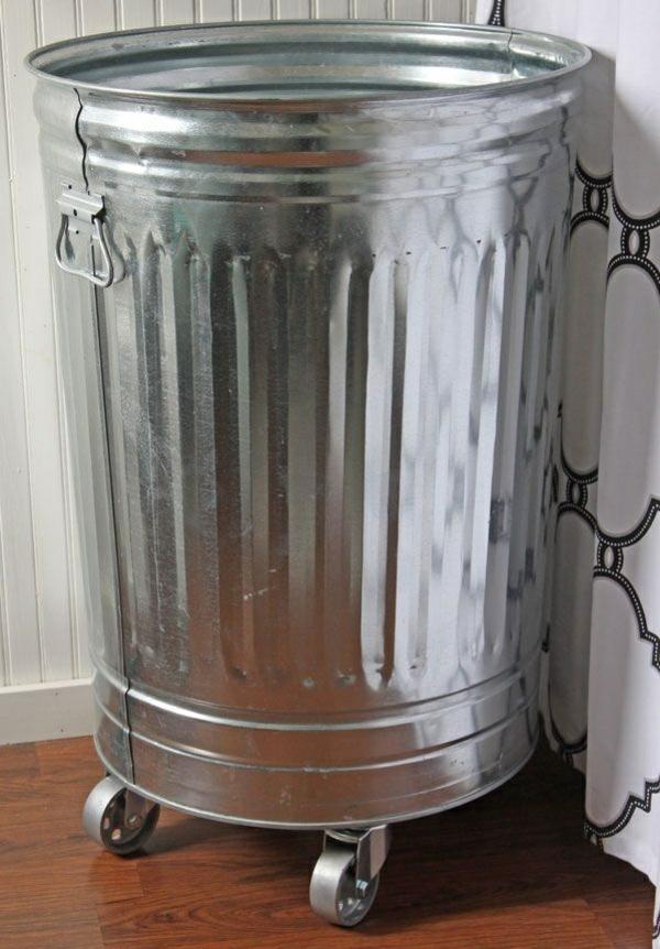 wäschekorb metalleimer auf rollen waschküche einrichten