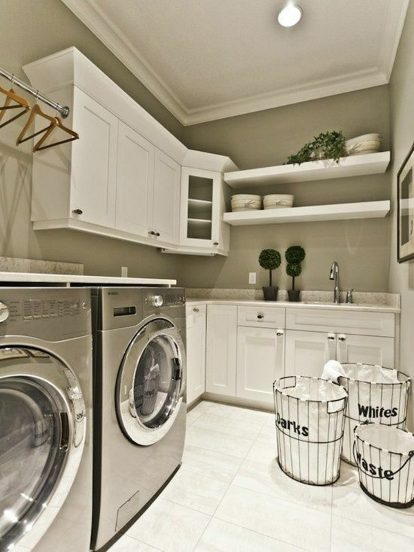 wäsche sortieren waschküche einrichten