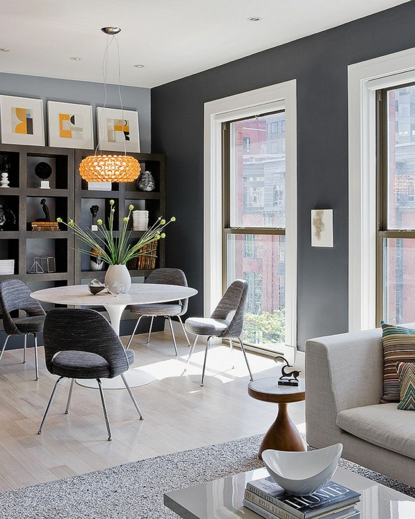 wandfarbe grau dunkel retro möbel