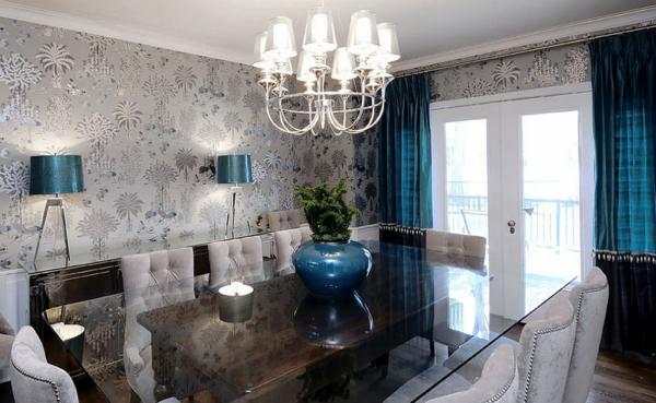 wohnzimmer grau altrosa:Esszimmer Wandgestaltung: Tapete in grau stilvolle vorschlage fur