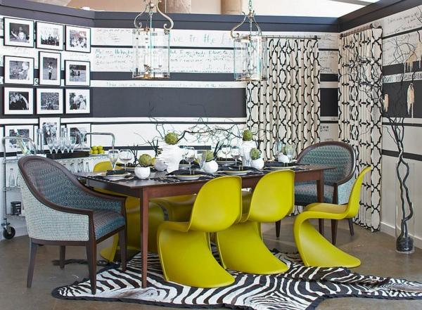 wandfarbe grau esszimmer panton stühle apfelgrün
