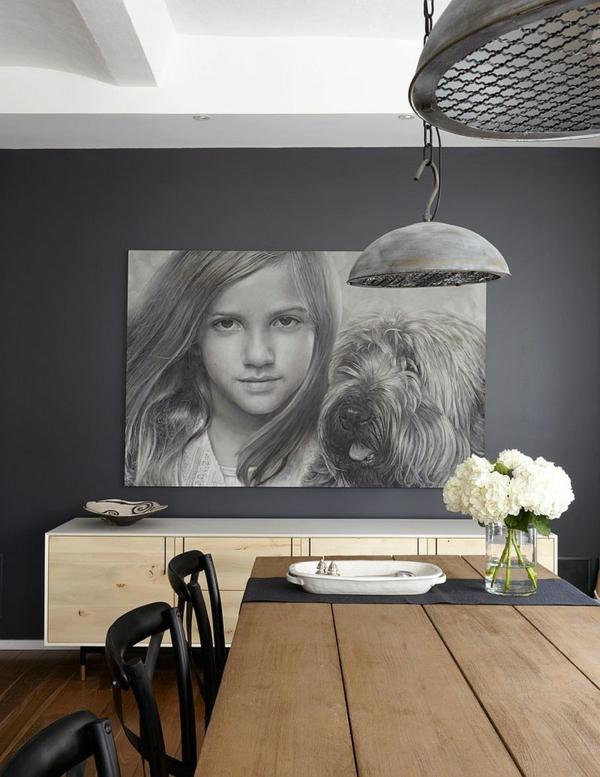 wandfarbe grau langer esstisch porträt