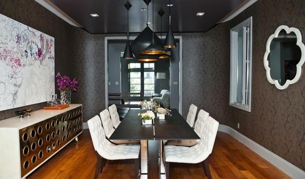 wandfarbe grau tapete esszimmer weiß gepolsterte stühle