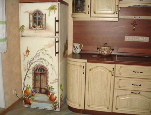 wandsticker küche kühlschrank schöne malerei