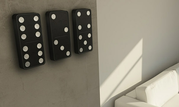 wanduhrdesign domino steine groß